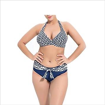 0a92363a7bb6 Scofeifei Traje de baño para Mujer Bikini con Cuello Halter de Talle ...
