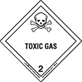 Labelmaster HML25 Toxic Gas Worded Label, Paper, Hazmat, 4'' x 4'' (Pack of 500)