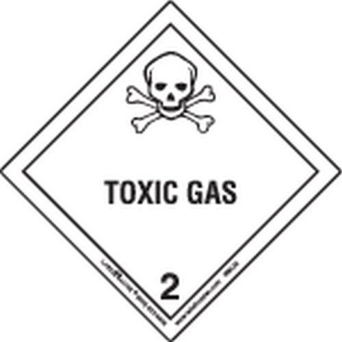 Labelmaster HML25 Toxic Gas Worded Label, Paper, Hazmat, 4'' x 4'' (Pack of 500) by Labelmaster®