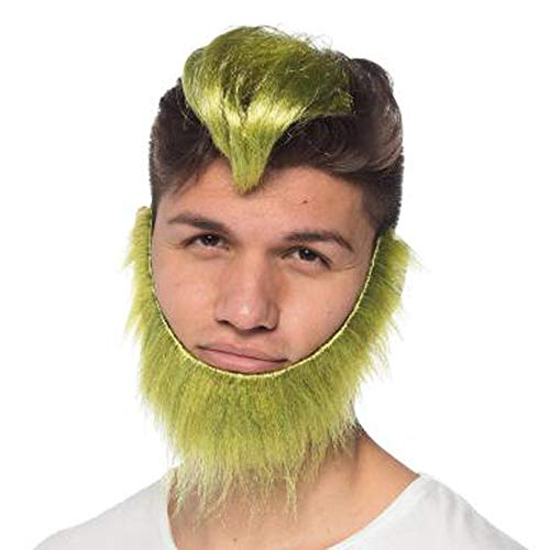Green Guy Clip on Wig & Beard Set Adult Halloween Costume ()