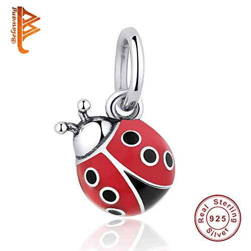 Pukido 925 Sterling Silver Beatles Ladybug Pendant Charm Fit Original Pandora Bracelet Necklace Animal Red Enamel Bead DIY Jewelry