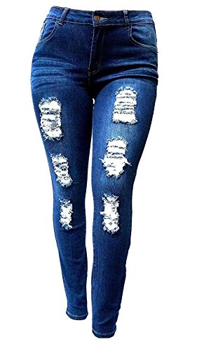 Jack David Womens Plus Size Stretch Distressed Ripped Blue Skinny Denim Jeans Pants (16, JD N605 Blue) (Womens Clothes Plus Size)