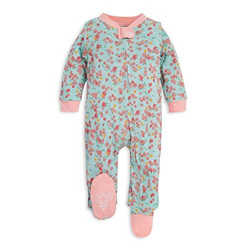 Burt's Bees Baby Baby Girls' Sleep & Play, Organic One-Piece Romper-Jumpsuit Pj, Zip Front Footed Pajama