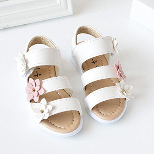Igemy 1 Paar Sommer Kinder Sandalen Mode Big Flower Mädchen Flache Pricness Schuhe Weiß