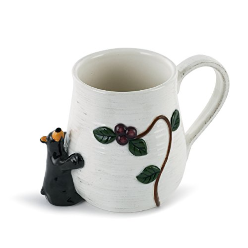 Berry Bear Rustic White 16 Ounce Insulating Earthenware Mug With Handle