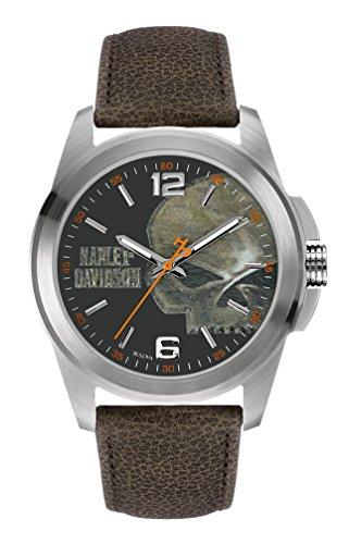 Harley-Davidson Men's Bulova Watch, Vintage Willie G. Skull, Brown Strap 76A146