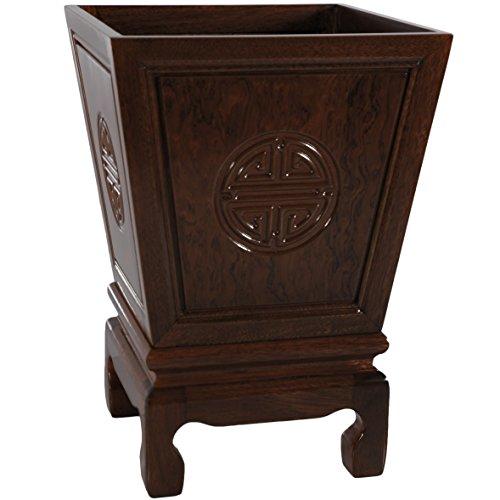 Oriental Furniture Rosewood Long Life Flower Container - Dark Rosewood -
