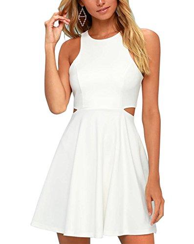 BELONGSCI Women Sweet and Cute Sleeveless Racerback Flared Swing A-Line Waist Hollow Out Summer Short Dress White