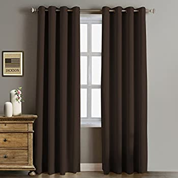 RHF Blackout Thermal Insulated Curtain   Antique Bronze Grommet Top For  Bedroom Or Living Room, Grommet Curtain, 1 Panel, 52W By 84L  Inches Chocolate