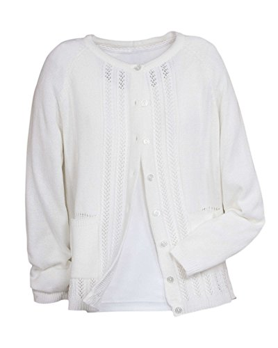 National Classic Cardigan Sweater, White, Petite Medium (Petite One Sweater Button)