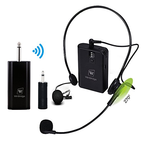 WinBridge Wireless Lavalier Microphone Wireless Headset Microphone System Rechargeable Transmitter & Receiver Perfect for Live Performance, Public Speaking, Teaching WB029