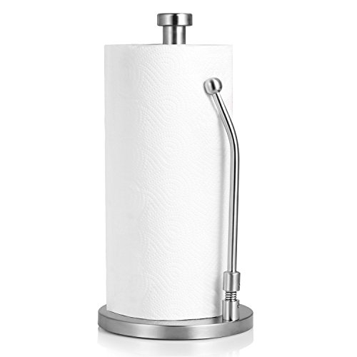 (ZTLbrand Paper Towel Holder -Perfect Modern Design for Kitchen White Paper Towel Dispenser with Rack, Safe for Kids, Best for Standing and Tension Arm MAKE YOUR HOUSE AND KITCHEN EASY)