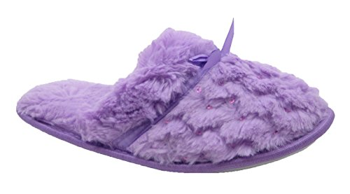 w Classy Slippers Sequins Ribbon amp; Blue Fashion Lilac Satin Furry W4qIw5