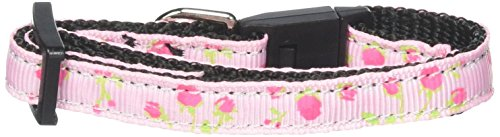 Mirage Pet Products Roses Nylon Ribbon Collar for Cat, Light Pink