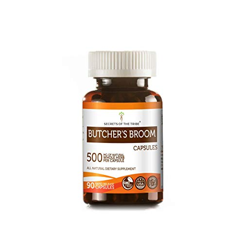 Butcher's Broom 90 Capsules, 500 mg, Organic Butcher's Broom (Ruscus aculeatus) Dried Root (90 Capsules) ()