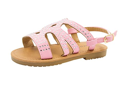 (Sara Z Toddler Girl's Strappy Rhinestone Studded Flat Sandals 9/10 Light Pink)