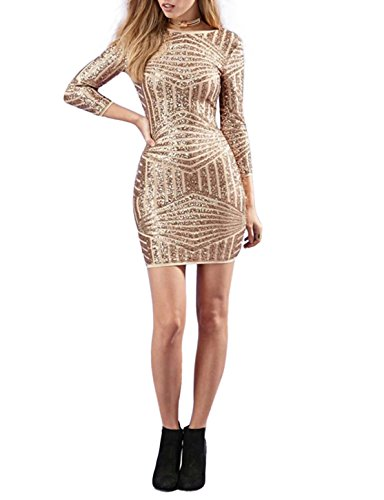 Gold Sequin Mini Dress - Irisie Women Long Sleeve Backless Sequin Bodycon Party Mini Dress(S,Gold)