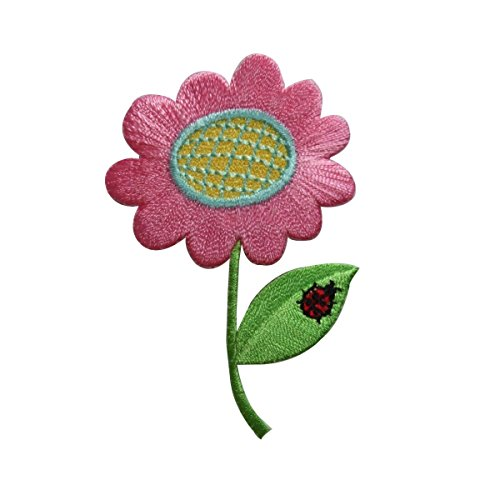 (ID 6220 Pink Pansy Flower Patch Ladybug Garden Bloom Embroidered IronOn Applique)