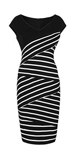 Homeyee%C2%AE Womens Vintage Stripe V neck