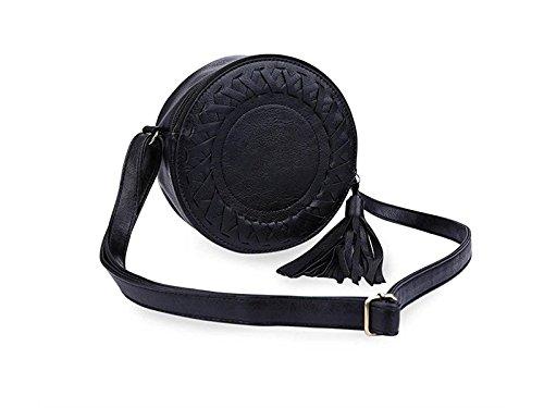 Purse Driverder Bag Shoulder Fashionable Strap Fringe Women'S Round Black ppavwqTZ