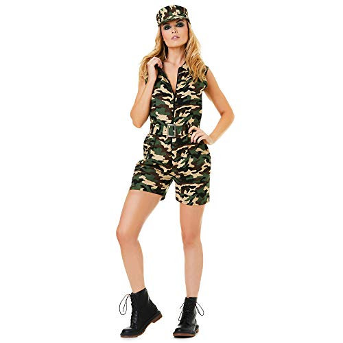 Karnival Costumes Army Costume,Women Military Camouflage Romper Suit, Large