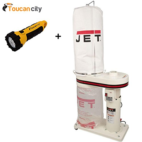 - Toucan City LED flashlight and JET 1 HP 650 CFM 4 in. Dust Collector with 5-Micron Bag Filter Kit, 115/230-Volt, DC-650MK 708642MK