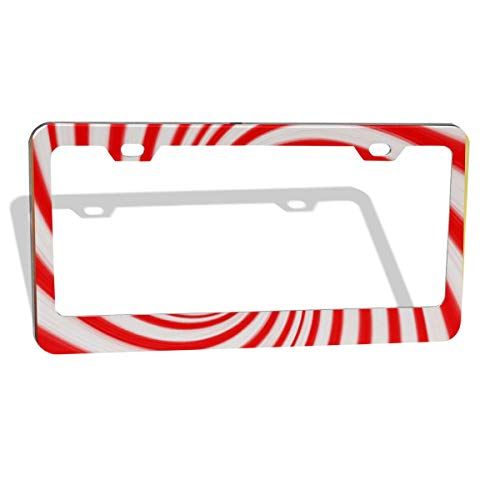 KKWX License Plate Frame Christmas Candy Canes Customized Personalized Metal License Plate Frame Holder, Decorative License Plate