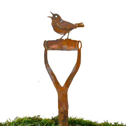 Elegant Garden Design Singing Warbler Shovel Handle, Steel Silhouette with Rusty ()