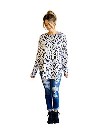 Tickled Teal Women's Long Sleeve Leopard Knit Casual Loose Sweater Outwear (2X, Leopard Print)