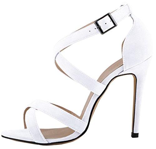 de Blanco Hebilla De Aguja Zapatos Sandalias Mujer Sintético 12CM Camountain Tacón vestir Calaier qtz7Hz
