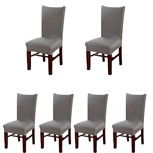 Deisy Dee Stretch Solid Color Chair Covers Removable Washable for Hotel Dining Room Ceremony Chair Slipcovers Pack of 6 C093 (dark grey) (Seat Covers Table)