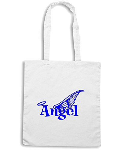 T-Shirtshock - Bolsa para la compra FUN0590 angel text with wings decal 48052 Blanco