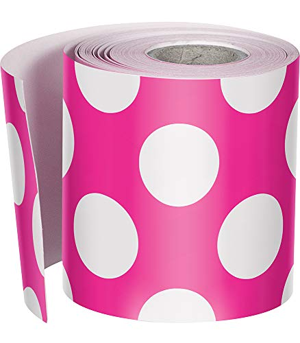 Schoolgirl Style Rolled Straight Borders, Hot Pink with Polka Dots (108332)
