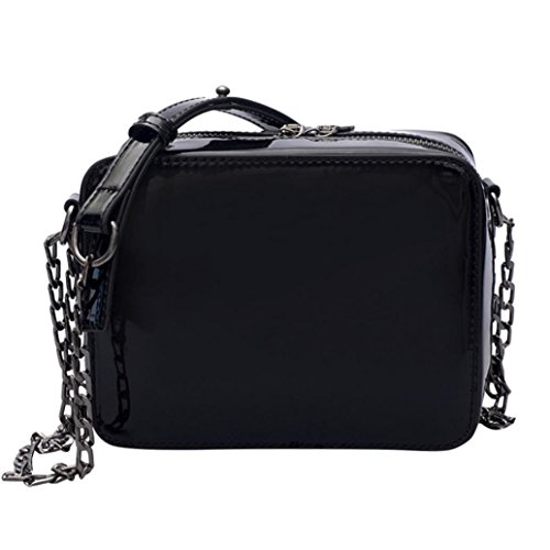 NXDA Fashion Zipper Patent Leather Handbags Shoulder Bag Crossbody Bag Tote Purse For Women and Girls (Black) by NXDA