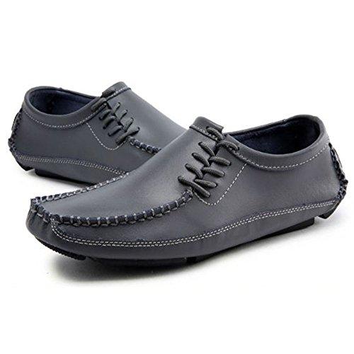 Ocio de Zapatos de Zapatos Inferiores Hombres Cuero Gris Blandos Zapatos para Zw54nqxTT