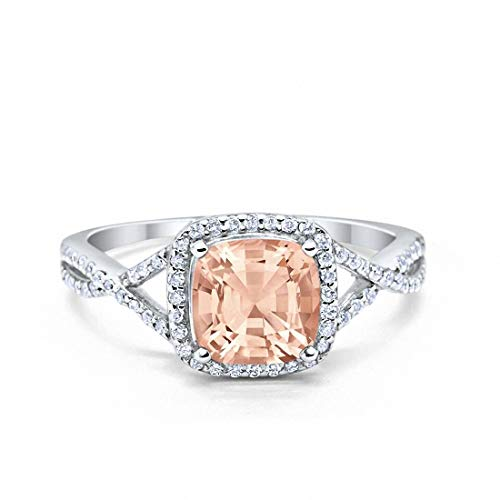 Blue Apple Co. Halo Infinity Shank Engagement Ring Cushion Simulated Morganite Round Cubic Zirconia 925 Sterling Silver, Size-7