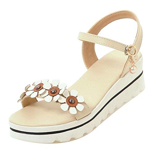 TAOFFEN Women Slingback Sandals Flatform Shoes apricot 8cP4Y