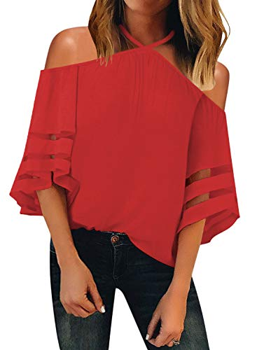 BLENCOT Womens Cute Halter Off Shoulder Mesh Panel 3/4 Bell Sleeve Shirts Fashion 2019 Loose Blouses Tops Red - Top Halter Dress Short