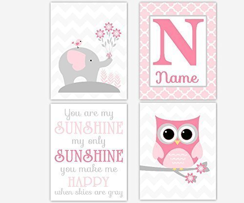 Baby Girl Nursery Art Pink Gray Elephant Owl You Are My Sunshine Qua trefoil Chevron Monogram Art Baby Nursery Decor SET OF 4 UNFRAMED PRINTS - Qua Print