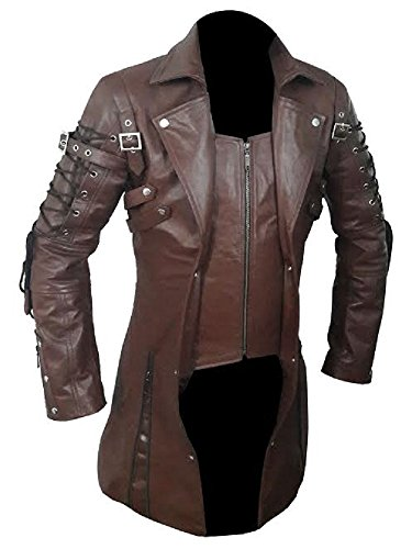 Mens Real Brown Leather Goth Matrix Trench Coat Steampunk Gothic - T18 (Large) -