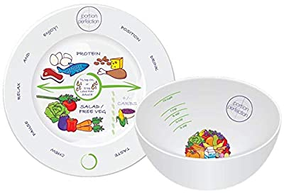 """Bariatric Surgery Bowl & 8"""" Plate Melamine Helps Control Your Diet Calorie Intake Weight Loss Giving You The Perfect Portion Post Sleeve Gastrectomy, Gastric Bypass, Balloon & Banding by Dietitians"""