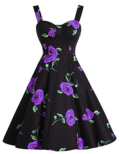 Pin Up Girl Fancy Dress (Dresstells 1950s Retro Audrey Swing Pinup Rockabilly Dress Pleated Vintage Dress PurpleFlower 3XL)