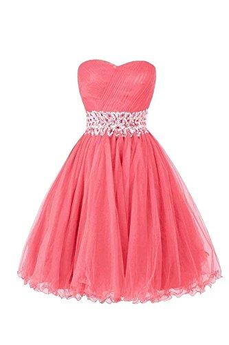 LanierWedding Women's Sweetheart Short Bridesmaid Dresses Homecoming Dresses 2016 Coral Size 14
