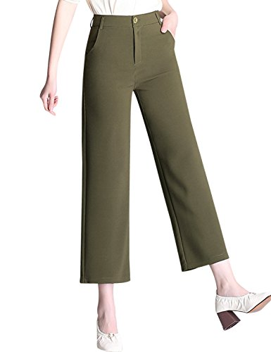 Tanming Women's High Waist Cropped Wide Leg Pants Trousers (Large, Green) (Green Pants Cropped)