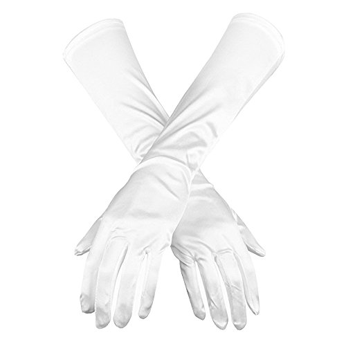 Winrase Ms. Opera Stretch Satin Gloves for Wedding Party Prom Long Gloves (Satin Silk Gloves)