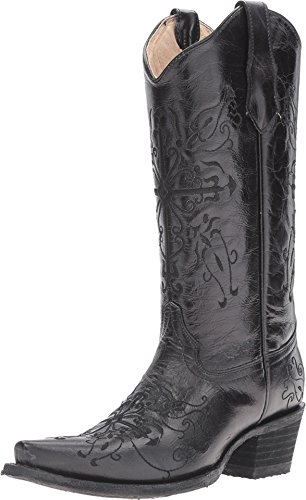 Circle G Women's Cross Embroidered Cowgirl Boot Snip Toe Black 9.5 M US