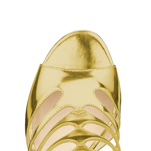 FSJ Chic Women Cutout US Dress Toe Shoes Sandals Heels Size 15 High 4 Peep Strappy Gold Pumps Caged rnrICxq