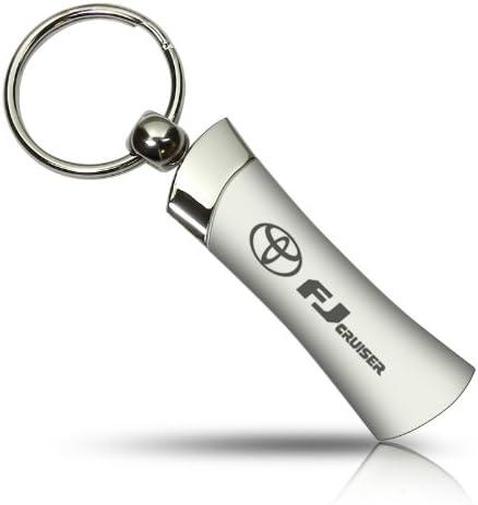 Toyota Land Cruiser Key Ring Black and Chrome Teardrop Keychain