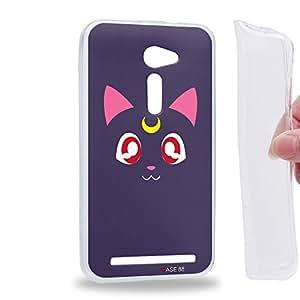 "Case88 TPU Designs Art Sailor Moon Crystal Sailor Animated Luna Funda de gel TPU para Asus Zenfone 2E / Zenfone 2 ZE500CL 5.0"""