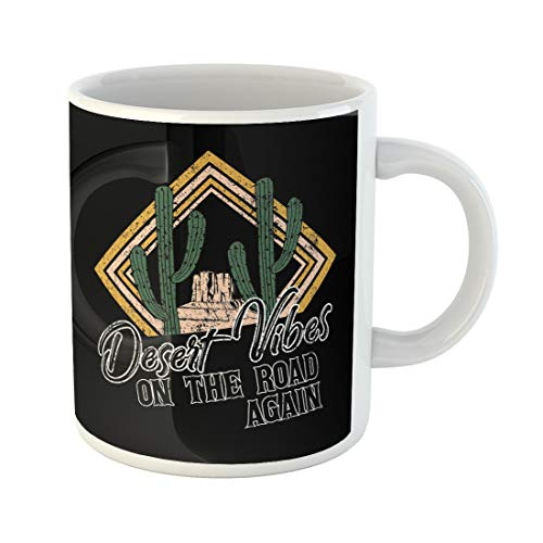 Emvency Funny Coffee Mug Desert Vibes and Cactus with Slogan Western Road Tripper Label with Styled 11 Oz Ceramic Coffee Mug Tea Cup Best Gift Or Souvenir ()